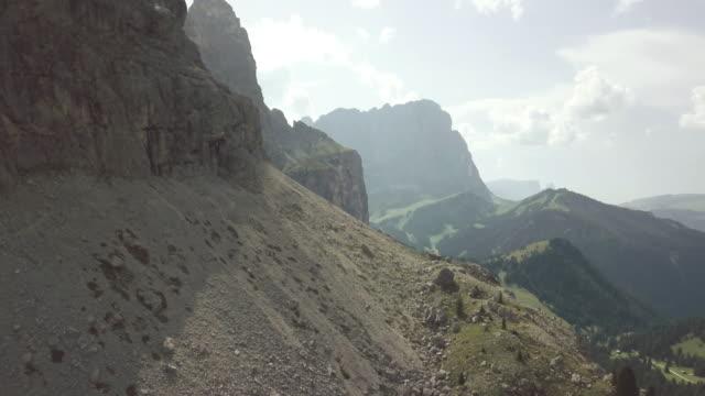 on the dolomites: drone aerial view - val di fassa video stock e b–roll
