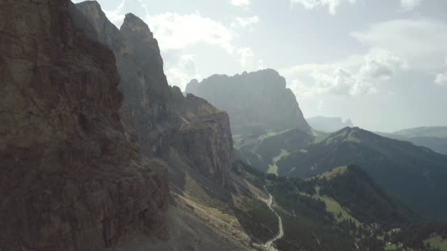on the dolomites: drone aerial view - val di fassa stock videos and b-roll footage