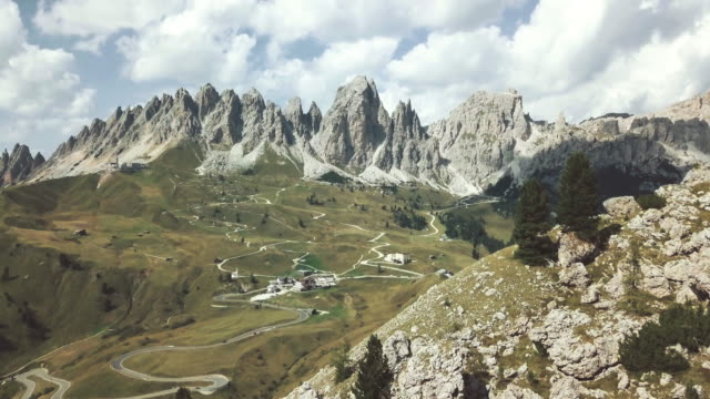 on the dolomites: drone aerial view - dolomites stock videos & royalty-free footage