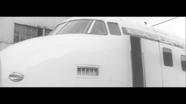 on the dream expressway/first tokaido bullet train is born moved from factory in eto to ibaraki city moved by trailer to a cargo station… slowly... - shinkansen stock videos & royalty-free footage