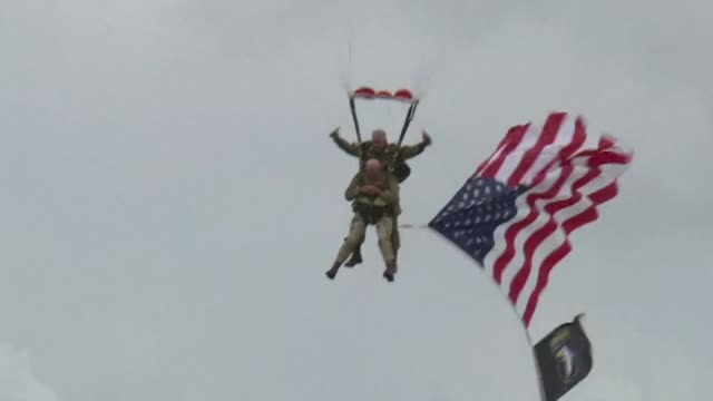 on the eve of the 75th anniversary of the dday landings paratroopers including 97year old american dday veteran tom rice leap out of aircraft over... - rice stock videos and b-roll footage
