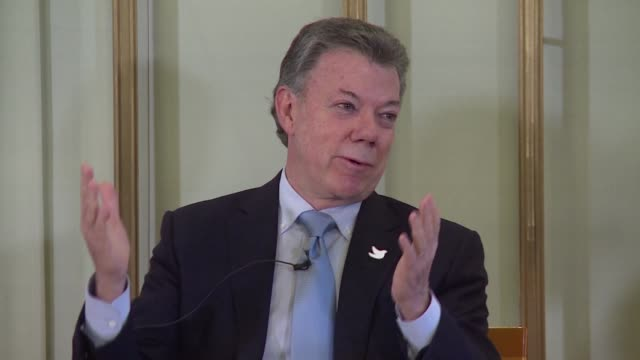 on the eve of the nobel peace prize ceremony in oslo colombian president juan manuel santos says the award is a gift from heaven that gave a... - juan manuel santos stock videos & royalty-free footage
