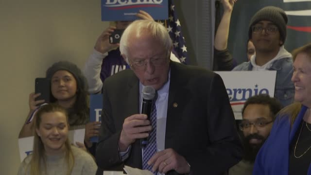 on the final weekend before the new hampshire primary bernie sanders tells supporters we have an excellent chance to win - final chance stock videos & royalty-free footage