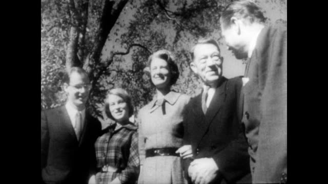 / on the lawn on the rockefeller estate posing for the camera are steven rockefeller mary rockefeller governor nelson aldrich rockefeller annemarie... - 1950 1959 stock videos & royalty-free footage