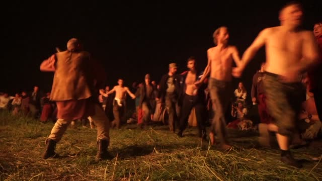 on the night of june 24th hundreds gather in a small village next to moscow to celebrate the pagan tradition of the summer solstice called kupala in... - summer solstice stock videos and b-roll footage