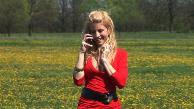 hd: on the phone - cleavage breasts stock videos and b-roll footage