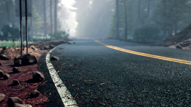on the road in a foggy road in usa - empty road stock videos & royalty-free footage