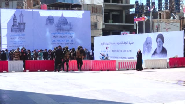on the second day of the first-ever papal visit to iraq, pope francis heads to the shrine city of najaf and meets grand ayatollah ali sistani, a... - najaf stock videos & royalty-free footage