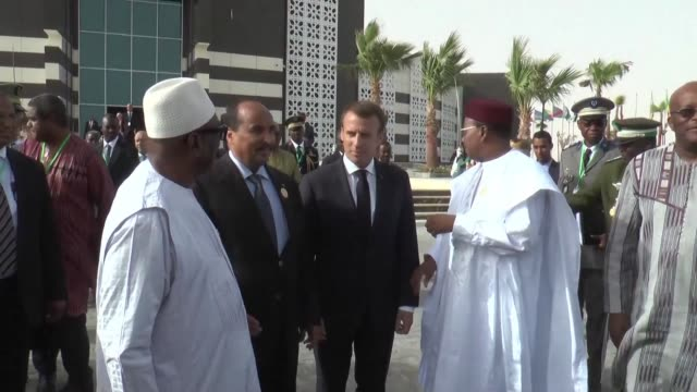 on the sidelines of the african union summit in mauritania g5 sahel leaders hold an extraordinary summit with french president emmanuel macron - g force stock videos & royalty-free footage