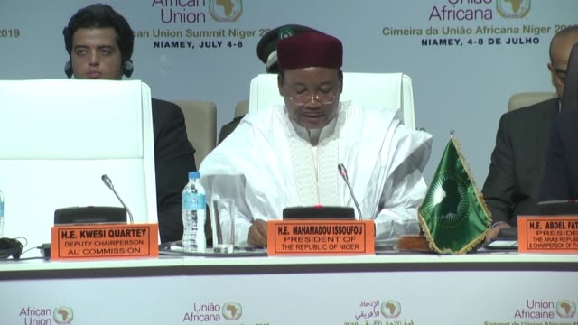on the sidelines of the launch of the african continental free trade area niger's president mahamadou issoufou calls for further efforts regarding... - mahamadou issoufou stock videos and b-roll footage
