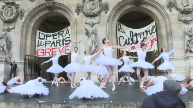 on the steps of the opera garnier in paris dancers perform a piece from swan lake to protest against the french government's pension reform - swan lake stock videos & royalty-free footage