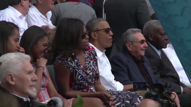 on the third day of his historic visit to havana us president barack obama and his cuban counterpart raul castro sat side by side tuesday for a... - side by side stock videos & royalty-free footage