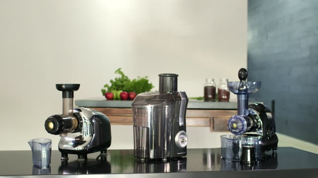 ds on three different juicers - electric juicer stock videos & royalty-free footage