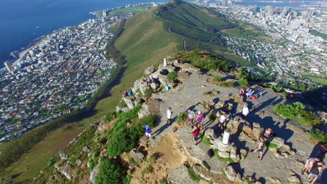 on top of cape town - lion's head mountain stock videos and b-roll footage
