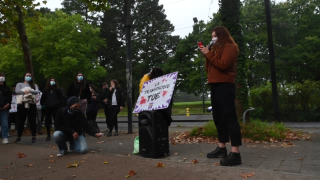 on tuesday 29th september 2020, around a hundred people gathered in front of the crous of nantes to pay tribute to doona, a young transgender woman... - veicolo terrestre commerciale video stock e b–roll