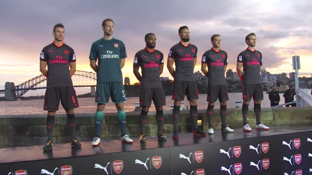 on wednesday 12th july the arsenal gunners and puma launched the 2017/18 season 3rd uniform on sydney's fort denison. arsenal fans were also invited... - football strip stock videos & royalty-free footage