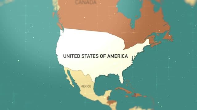 usa su world map stock video - south america video stock e b–roll