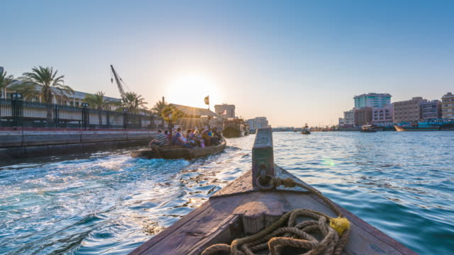 Onboard and Abra sailing on Dubai Creek, Dubai