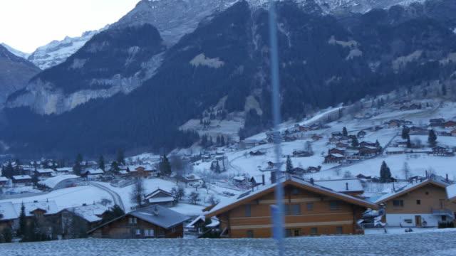 onboard berner oberlandbahn railway through grindelwald, jungfrau region, bernese oberland, swiss alps, switzerland, europe - bernese alps stock videos & royalty-free footage
