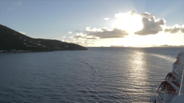 vídeos y material grabado en eventos de stock de onboard cruise ship view approaching road town, tortola, british virgin islands, west indies, caribbean, central america - embarcación de pasajeros