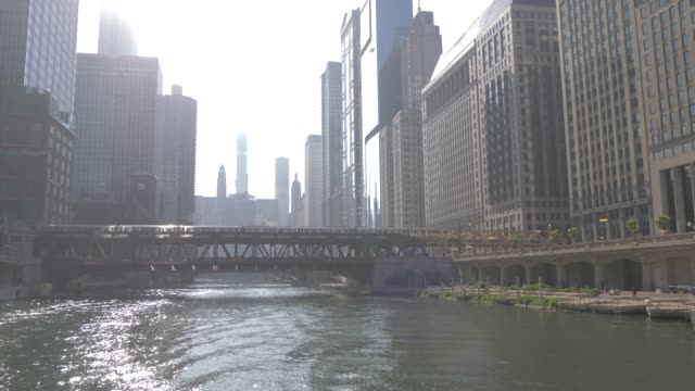 onboard river taxi on chicago river and tall buildings, chicago, illinois, united states of america, north america - chicago river stock videos & royalty-free footage