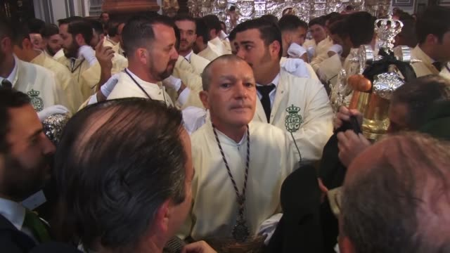 once again, actor antonio banderas attends the 'semana santa' while participating in the 'lagrimas y favores' brotherhood - holy week stock videos & royalty-free footage