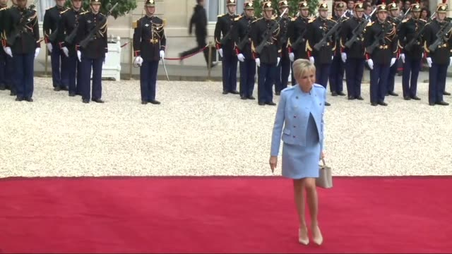 once his high school drama teacher now wife of incoming french president emmanuel macron 64 year old brigitte macron joined fellow guests at the... - president stock videos & royalty-free footage