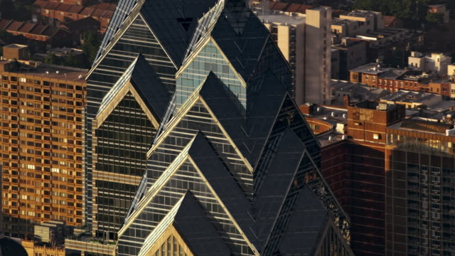 aerial one and two liberty place buildings in philadelphia shining in the sun - philadelphia pennsylvania video stock e b–roll