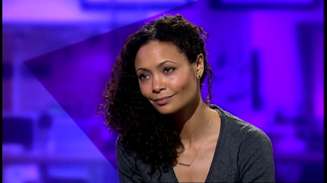 one billion rising campaign against sexual violence england london gir int thandie newton studio interview sot - thandie newton stock videos & royalty-free footage