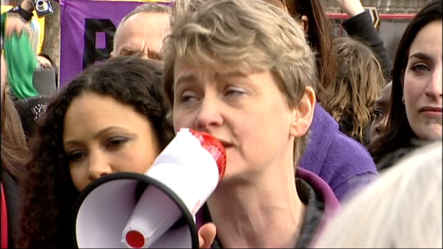 'one billion rising' campaign against violence for women: flashmob; ruby wax speaking through megaphone sot / yvette cooper mp speaking through... - megaphone stock videos & royalty-free footage