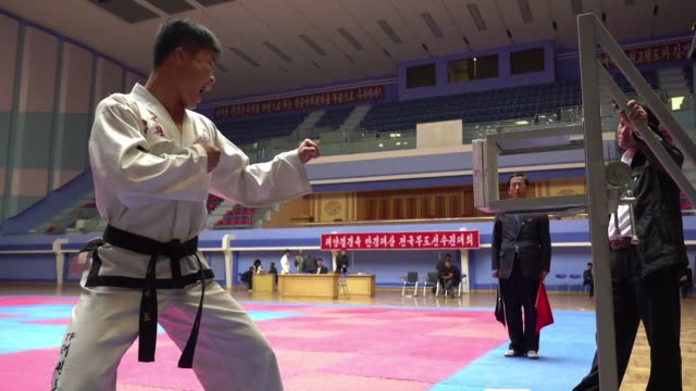 one by one the north korean taekwondo fighters approach the board yell for inspiration and strike out trying to split interlocking plates with their... - interlocked stock videos & royalty-free footage
