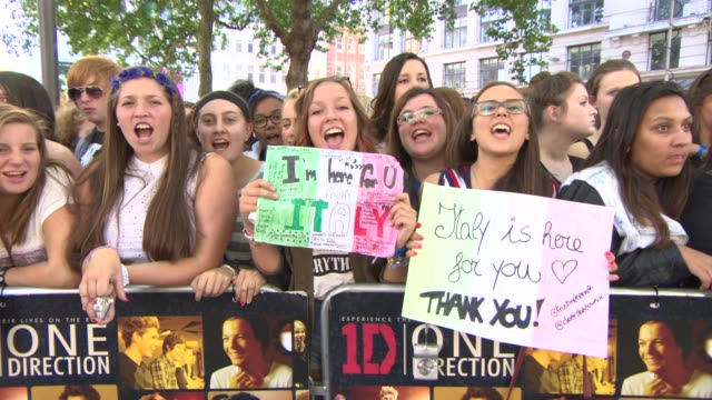 one direction fans at 'this is us' one direction world premiere at empire leicester square on august 20, 2013 in london, england - leicester square stock videos & royalty-free footage