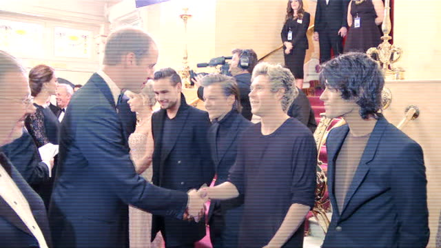one direction meet duke and duchess of cambridge at the royal variety performance england london london palladium photography** prince william duke... - liam payne stock videos and b-roll footage