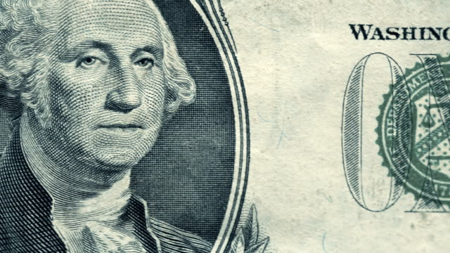 vídeos de stock e filmes b-roll de u.s. one dollar bill close-up details - george washington