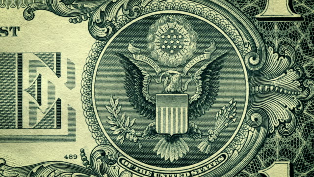 DOLLY: U.S. one dollar bill close-up details