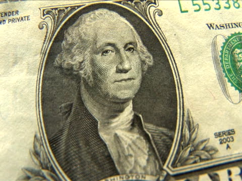 ecu, zi, one dollar bill - george washington stock-videos und b-roll-filmmaterial