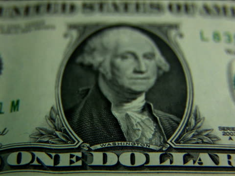 ecu, r/f, one dollar bill - george washington stock videos and b-roll footage