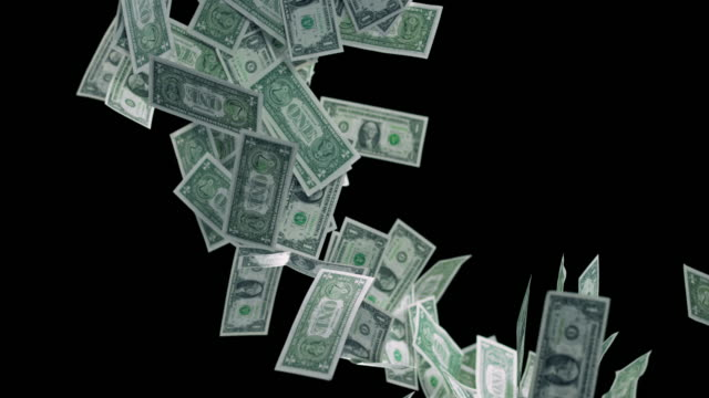 slo mo one dollar bills falling down on black background - one us dollar note stock videos & royalty-free footage