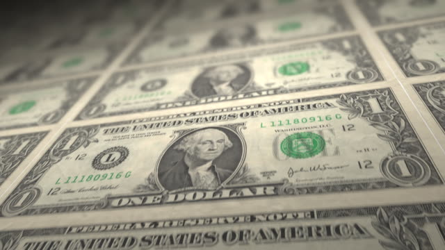 one dollar bills loop. hd - pressa da stampa video stock e b–roll