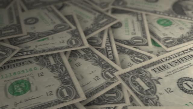 One Dollar Bills - tracking shot. 4k