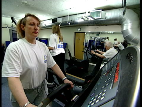 one family's bid to keep fit itn adrian bonner interview sot is work to do need to bring their weight down need varied exercise ms su willis on... - exercise machine stock videos & royalty-free footage