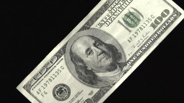 CU, ZI, One hundred American dollar bill rotating