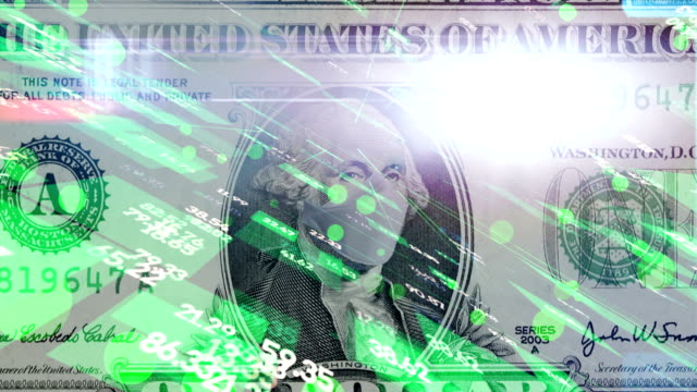 one hundred dollar bill with disposable medical mask. concept of the coronavirus epidemic in usa. impact of the coronavirus pandemic on the usa economy - stock certificate stock videos & royalty-free footage