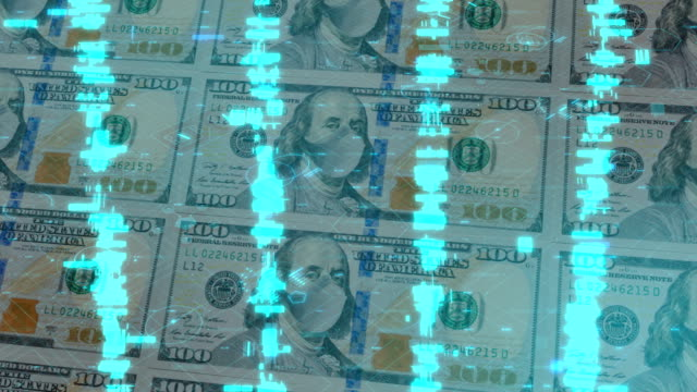 one hundred dollar bill with protective face mask in a digital space of numbers. concept of the coronavirus pandemic in usa. - currency symbol stock videos & royalty-free footage