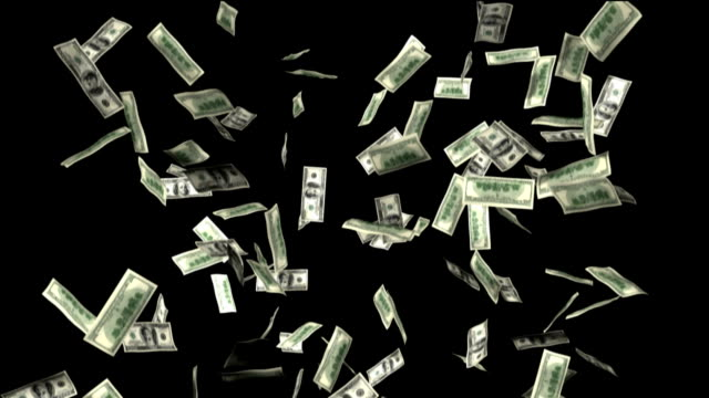 CGI, One hundred dollar bills falling against black background
