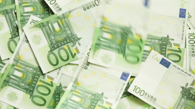 one hundred euro bills - large group of objects stock videos & royalty-free footage