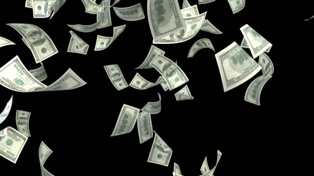 one hundred usd dollar bills falling on black background - us dollar note stock videos & royalty-free footage