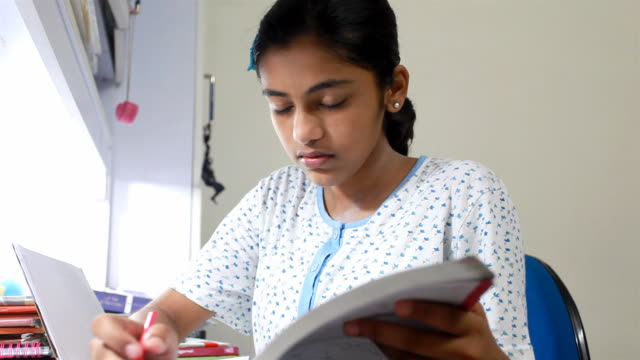 One Indian Teenage Girl Studying At Home Stock Footage Video Getty Images