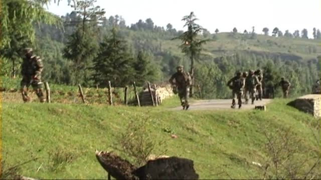 one militant was killed in an encounter between indian security forces and militants in zunrishi chowkibal forest area of north kashmir's kupwara... - jammu e kashmir video stock e b–roll