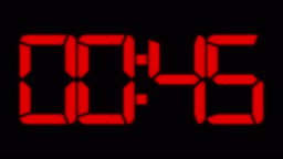one minute countdown to zero red digital clock